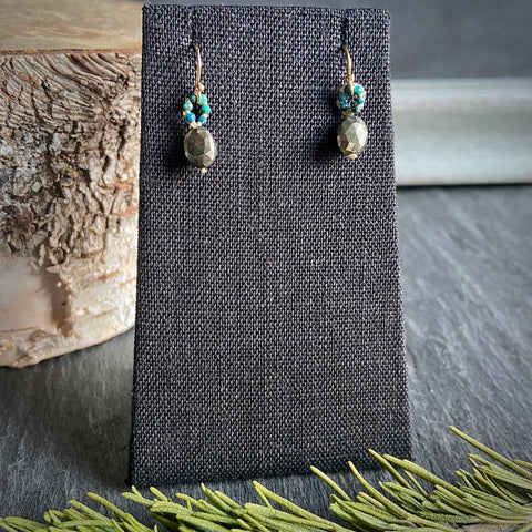 Pyrite and Chrysocolla Woven Earrings
