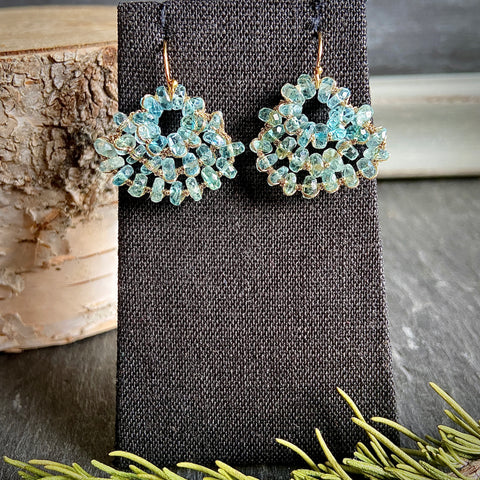Aqua Woven Fan Earrings