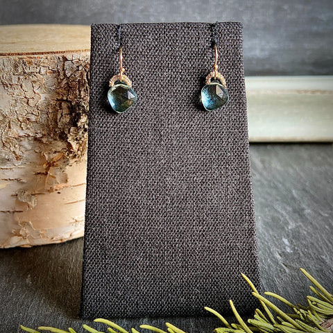 Aqua Quartz Woven Earrings