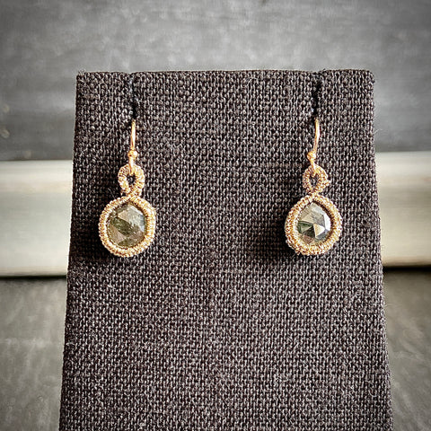 Caged Tourmalinated Quartz Earrings