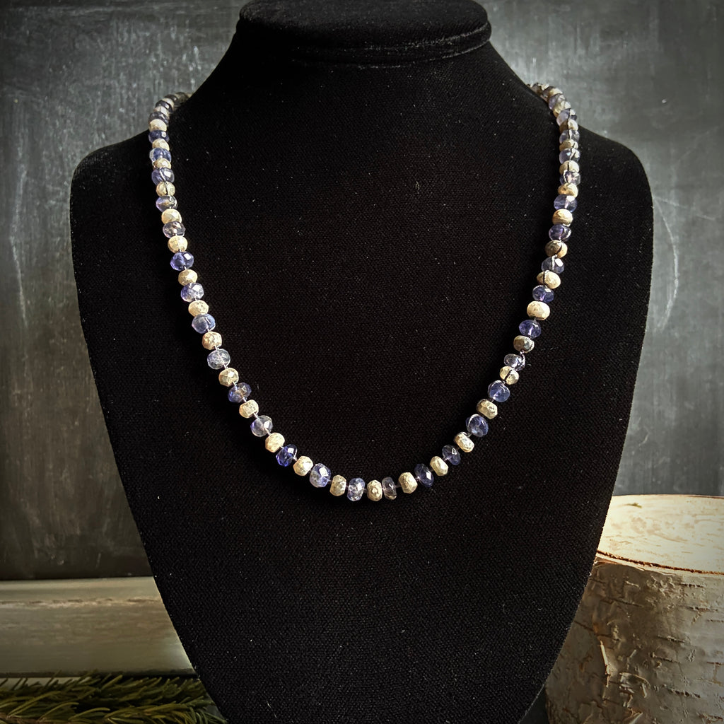 Iolite and Silverite Woven Necklace - Lori McLean
