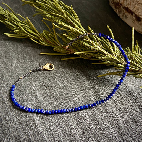 Single Strand Lapis Woven Bracelet - Lori McLean
