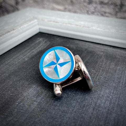Turquoise Compass Rose Inlay Cufflinks - Lori McLean