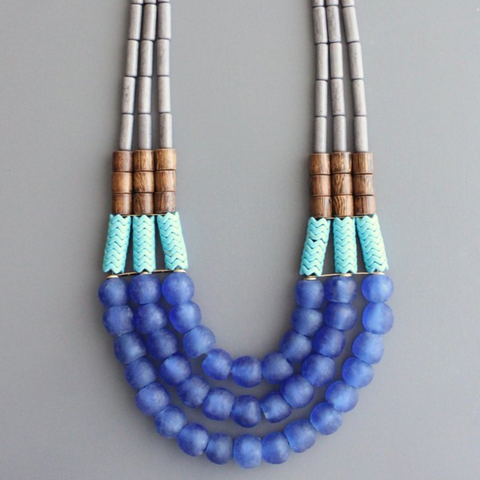 Triple Glass + Wood Necklace