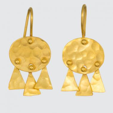 Hammered Disc and Triangle Drop Earrings - Lori McLean