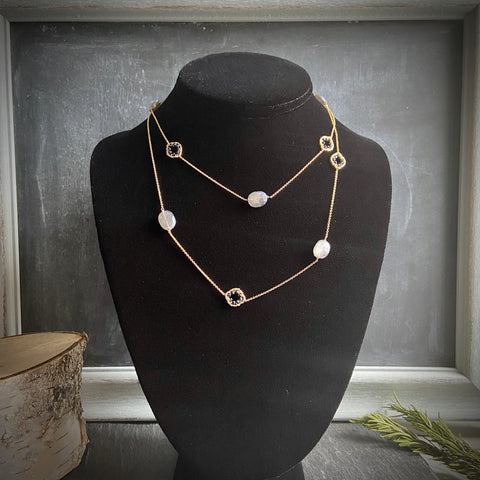 Black Spinel and Grey Moonstone Necklace - Lori McLean