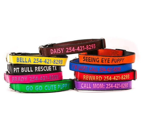 Personalized Embroidered Fashion Dog Collars & Leashes