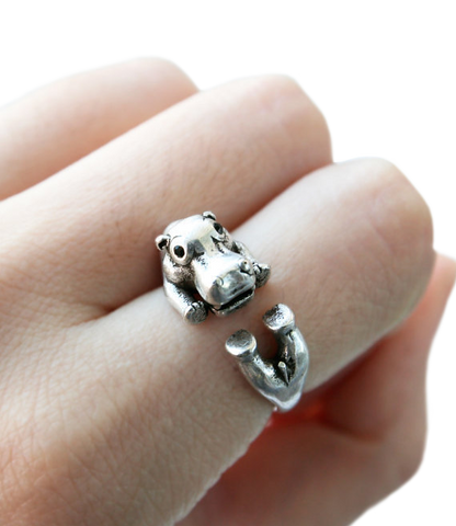 Hippopothamus Wrap around Silver Ring