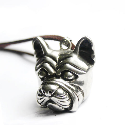 Antique French Bulldog Solid Shaped Animal Necklace