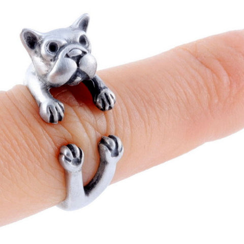 Cute French Puppy Bulldog Wrap Around Ring