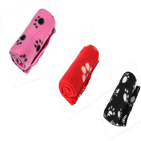 Cute Handcrafted Cozy Warm Paw Print Pet Dog Cat Fleece Blanket Mats