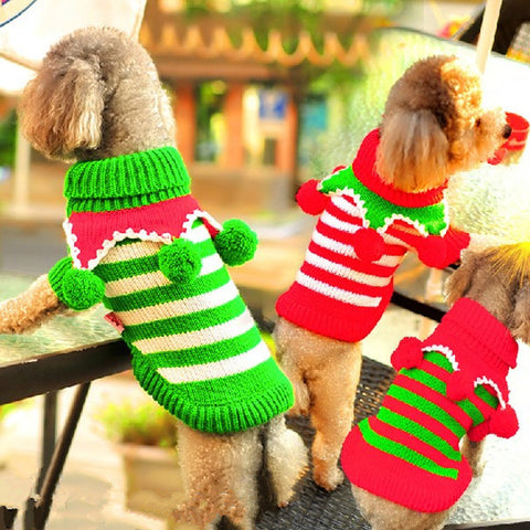 Red Green Stripes Wool Ball Turtleneck Dog Sweater