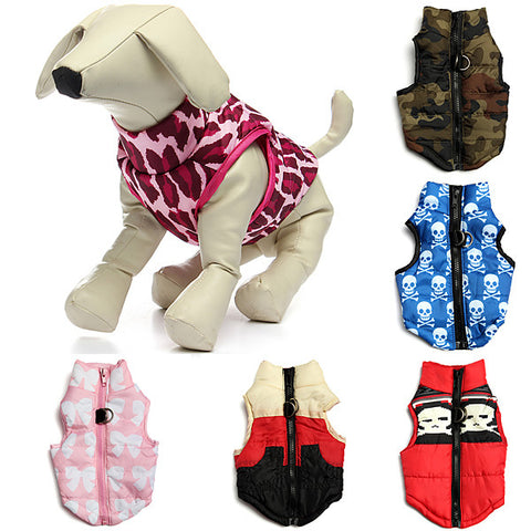 Pet Dog Warm Cotton Padded Vest Jacket Puppy Harness Soft Coat