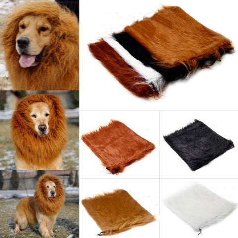 Pet Lion Mane Wig Halloween Costume Clothes for Large Dog Cat 80cm