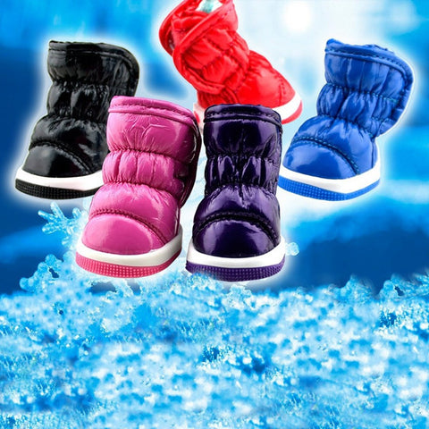4Pcs Dog Shoes Leather Plush Dog Warm Shoes Cotton Antiskid Shoes Snow Boots