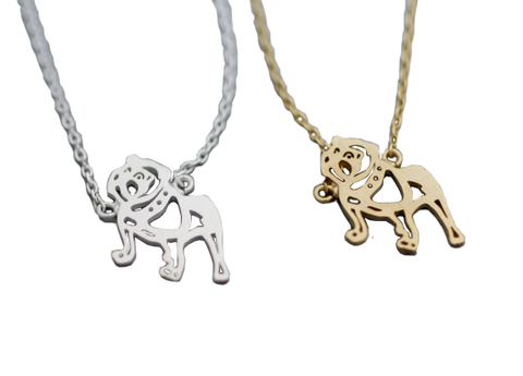 Bulldog Outline Shaped Animal Necklace