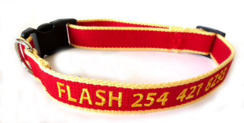 Eco Friendly Bamboo Personalized Embroidered Custom Made Dog Collar - Red And Yellow