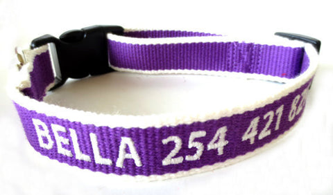 Eco Friendly Bamboo Personalized Embroidered Custom Made Dog Collar - Purple And White