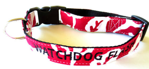 RORSCHACH NYLON RED DOG COLLAR PERSONALIZED CUSTOM EMBROIDERY
