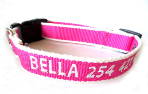 Eco Friendly Bamboo Personalized Embroidered Custom Made Dog Collar - Pink And White