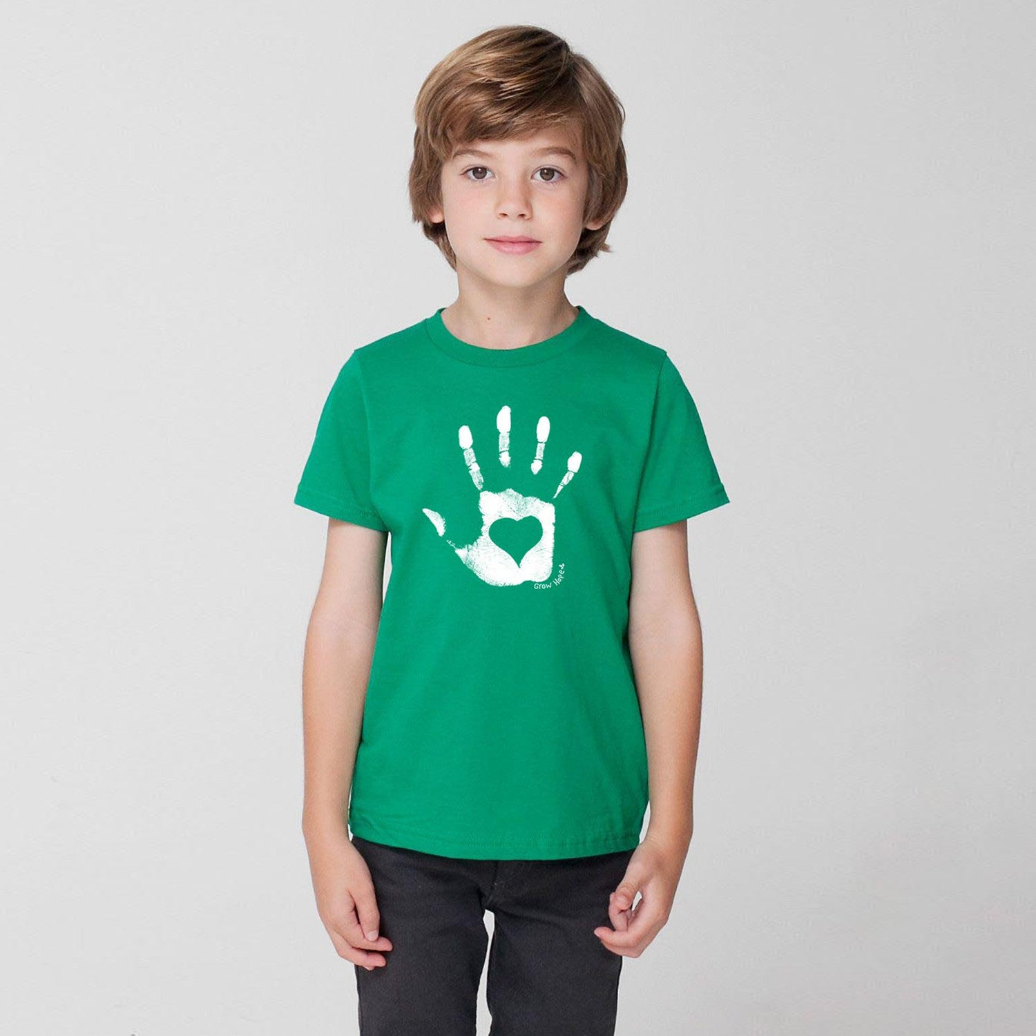 Kids Hand Heart Green Tee