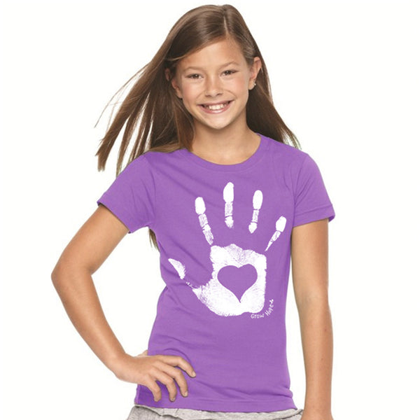Kids Organic Hand Heart Purple Tee