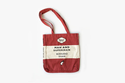 Man and Superman Red Tri-band Tote Bag