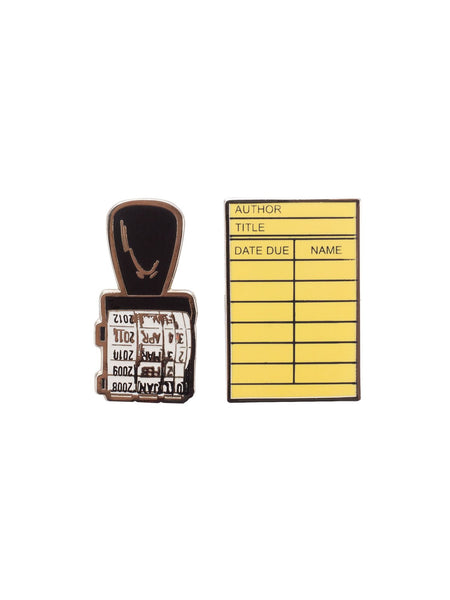 Library Card and Stamp Enamel Pin Set