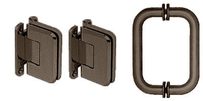 CRL Oil Rubbed Bronze Pinnacle Shower Pull and Hinge Set - P1NS30RB