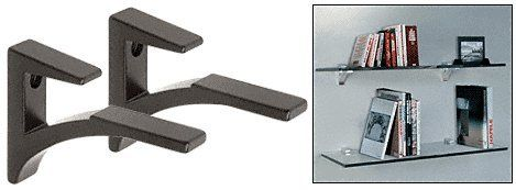 "CRL Black - Aluminum Glass Shelf Bracket for 3/8"" to 1/2"" Glass - Package"
