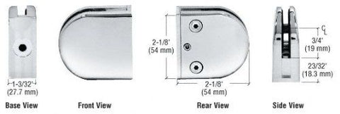CRL Chrome Z-Series Round Type Flat Base Zinc Clamp for 3/8'' Glass