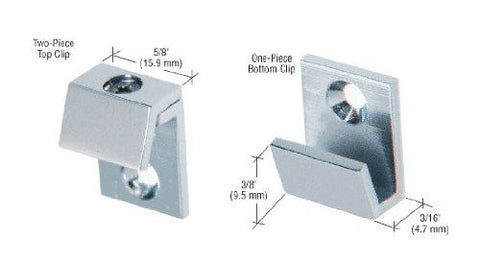 CRL Chrome 5/8'' Wide Beveled Mirror Clips - Set