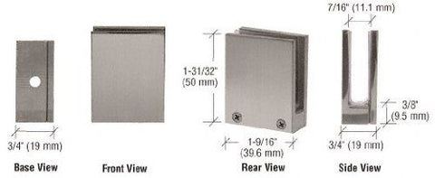 CRL Brushed Nickel Face Plate Glass Clamp for 1/4'' to 3/8'' Glass