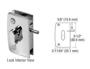 CRL Brush Nickel Swinging Glass Door Lock w/ Indicator for 5/16'' to 1/2'' Glass