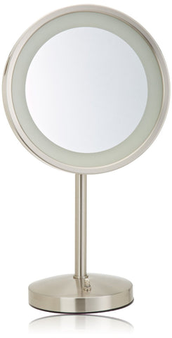 Jerdon HL1015NL First Class Elite 5X LED Halo Lighted Table Top Mirror, 5X Magnification, 9.5'', Nickel