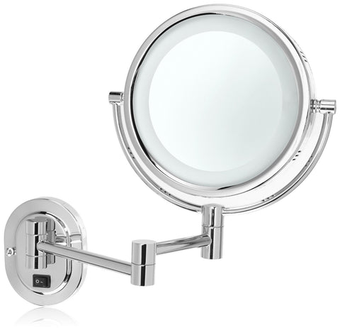 Jerdon HL65CD 8-Inch Two-Sided Swivel Halo Lighted Wall Mount Mirror with 5x Magnification, 13-Inch Extensionme Finish