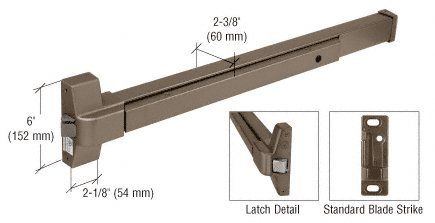 CRL Dark Bronze Touch Bar Rim Panic Exit Device for Wood or Hollow Metal Doors
