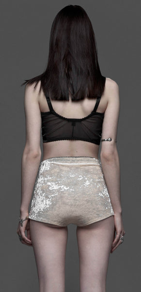 Nude Crushed Velvet Hi-Waisted Shorts