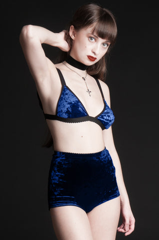 Blue Velvet Triangle Bralette