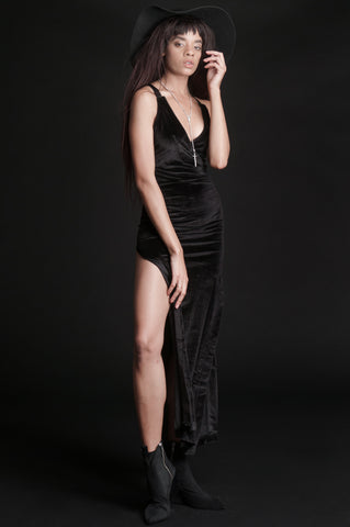 Eternal Black Velvet Maxi Dress