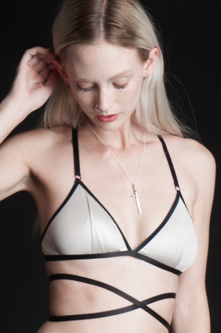 Off White Waxing Moon Triangle Bra Top