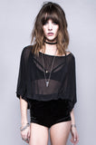 Dead Again Jersey Chiffon Top