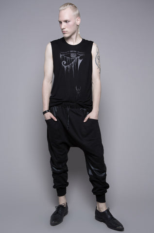 Resurrection Past French Terry Drop Crotch Pants with Waxed Contrast