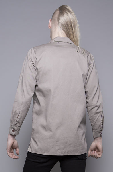 Tan Zipperhead Twill Button Up Top with Zippers