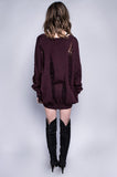 Oxblood Fray Knit