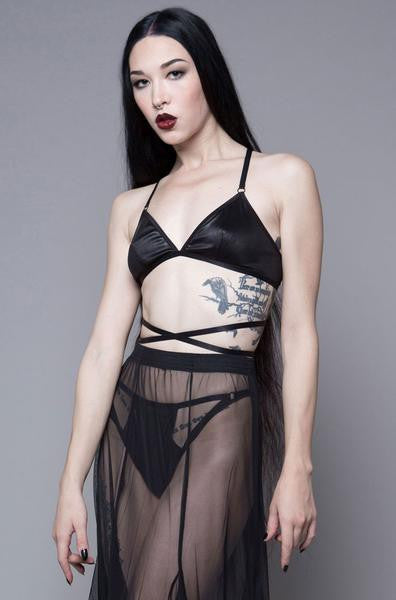 Black Waxing Moon Triangle Bra Top