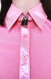 Better Locked Up than Knocked Up Collared Shirt - Pink