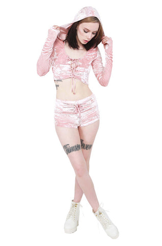 Velvet Crush 2 Lace Up Hoodie - Pink