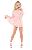 Pink Little Jezebel Robe with Faux Marabou Feather Trim