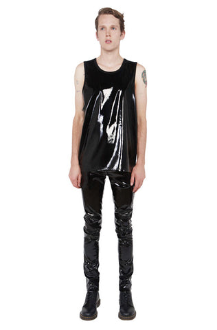 Vinyl Classics Sleeveless Bondage Top! - Matte Black